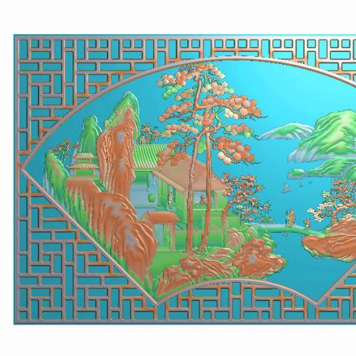 山水摆件精雕图,山水摆件浮雕图,山水雕刻图,山水精雕图(bj-879)