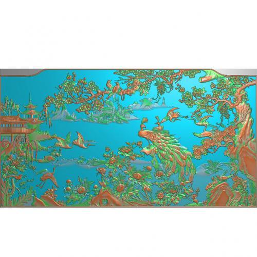 孔雀花鸟精雕图,松鹤浮雕图,梅花雕刻图(HN-515)
