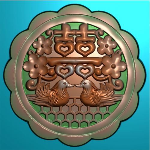 双喜鸳鸯月饼模具精雕图(MJ-0030)