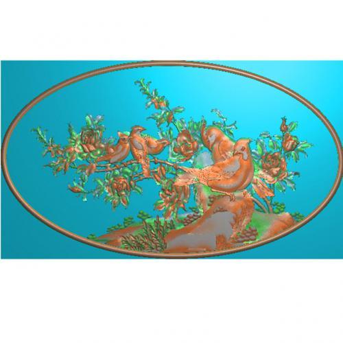 牡丹鸟精雕图,花鸟浮雕图,喜鹊雕刻图(HN-517)