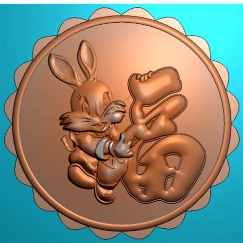 玉兔月饼模具精雕图,玉兔月饼模具浮雕图,玉兔月饼模具雕刻图(MJ-0031)