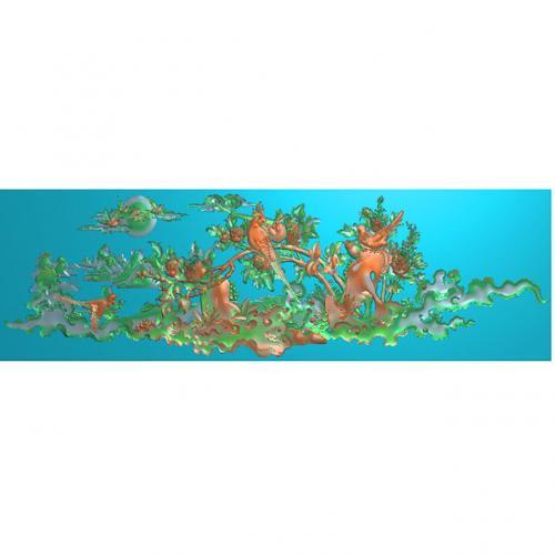 山水花鸟精雕图,牡丹浮雕图,山水雕刻图(HN-519)
