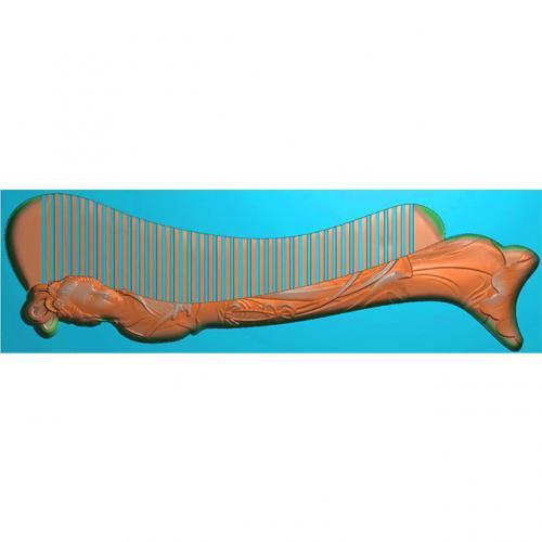 人物梳子精雕图,美女人物梳子浮雕图,人物梳子雕刻图(SZ-013)