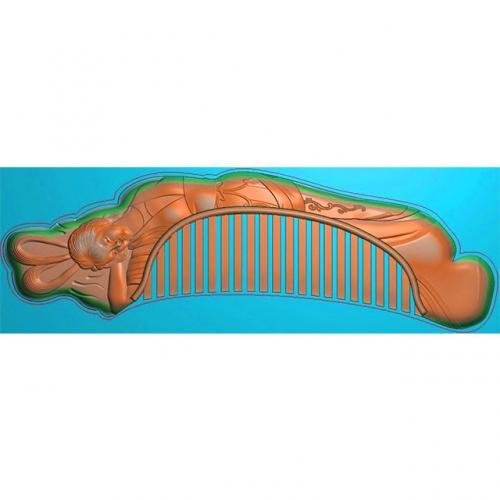 人物梳子精雕图,美女人物梳子浮雕图,人物梳子雕刻图(SZ-014)