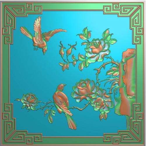 牡丹花鸟精雕图,花鸟浮雕图,飞鸟雕刻图(HN-525)
