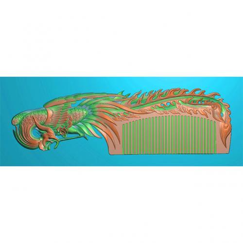 凤凰梳子精雕图,凤凰梳子浮雕图,凤凰梳子雕刻图(SZ-018)