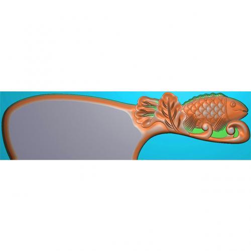鲤鱼梳子精雕图,鲤鱼梳子浮雕图,鲤鱼梳子雕刻图(SZ-021)