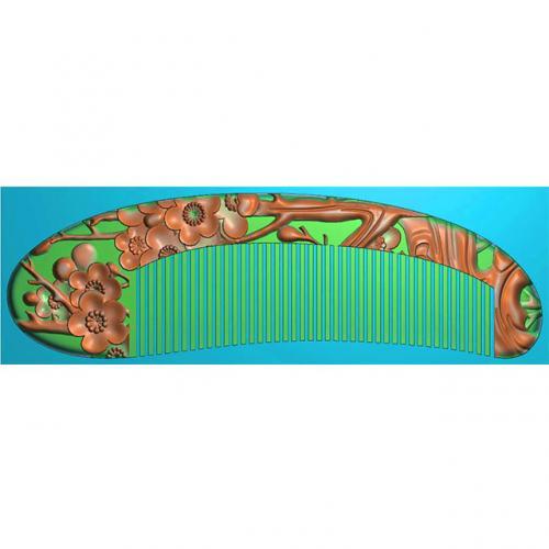 梅花梳子精雕图,梅花梳子浮雕图,梅花梳子雕刻图(SZ-028)