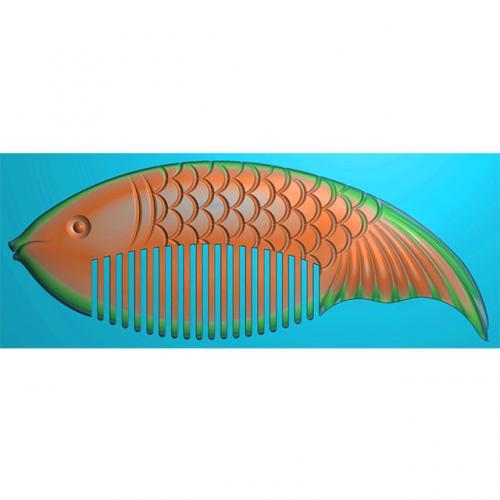 年年有余鱼梳子精雕图,年年有余鱼梳子浮雕图,年年有余鱼梳子雕刻图(SZ-030)