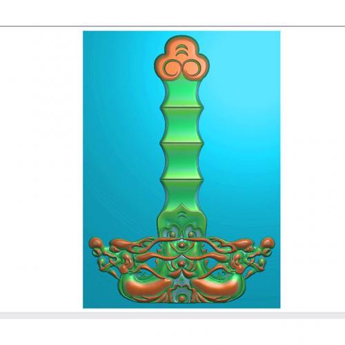 桃木剑精雕图,宝剑浮雕图,木雕剑,剑雕刻图,工艺品剑精雕图(DJF-362)
