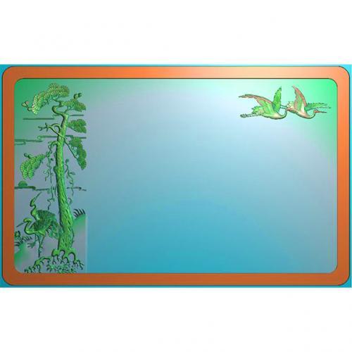 松鹤茶盘精雕图,松鹤茶盘浮雕图,松鹤茶盘雕刻图,茶盘茶台(SHCP-012)