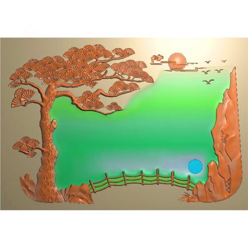 松鹤茶盘精雕图,松鹤茶盘浮雕图,松鹤茶盘雕刻图,茶盘茶台(SHCP-014)