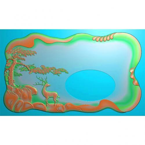 松鹤茶盘精雕图,松鹤茶盘浮雕图,松鹤茶盘雕刻图,茶盘茶台(SHCP-100)