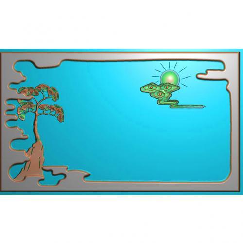 松鹤茶盘精雕图,松鹤茶盘浮雕图,松鹤茶盘雕刻图,茶盘茶台(SHCP-101)