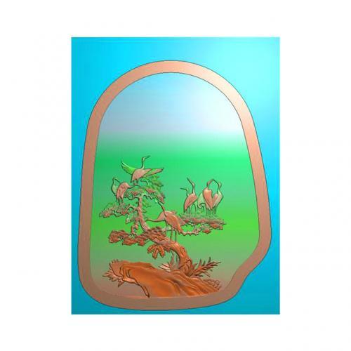 松鹤茶盘精雕图,松鹤茶盘浮雕图,松鹤茶盘雕刻图,茶盘茶台(SHCP-102)