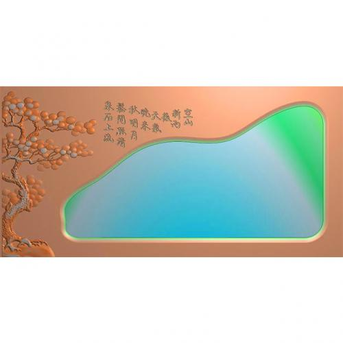松鹤茶盘精雕图,松鹤茶盘浮雕图,松鹤茶盘雕刻图,茶盘茶台(SHCP-106)