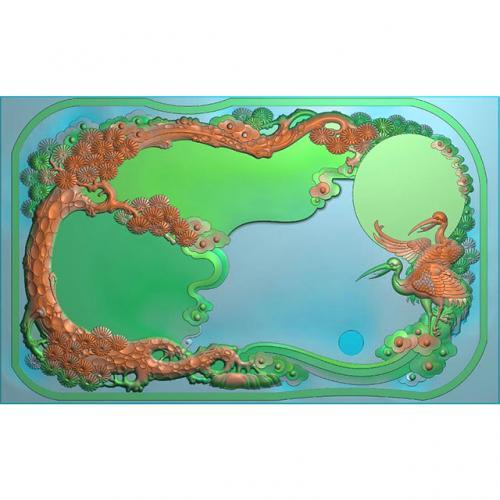 松鹤茶盘精雕图,松鹤茶盘浮雕图,松鹤茶盘雕刻图,茶盘茶台(SHCP-108)