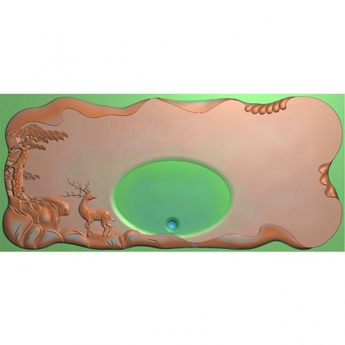松鹤茶盘精雕图,松鹤茶盘浮雕图,松鹤茶盘雕刻图,茶盘茶台(SHCP-111)