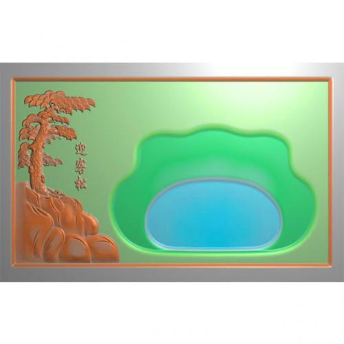 松鹤茶盘精雕图,松鹤茶盘浮雕图,松鹤茶盘雕刻图,茶盘茶台(SHCP-113)