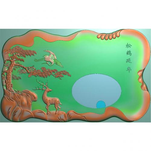 松鹤茶盘精雕图,松鹤茶盘浮雕图,松鹤茶盘雕刻图,茶盘茶台(SHCP-114)
