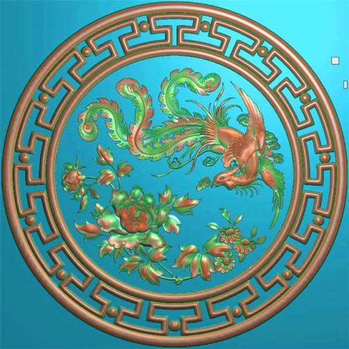 凤穿牡丹挂件挂匾精雕图,挂件挂匾浮雕图,挂件挂匾雕刻图,回纹加工图(GJ-011)