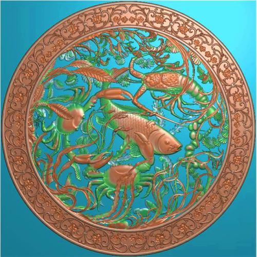海鲜挂件挂匾挂屏精雕图,挂件挂屏挂匾浮雕图,挂屏挂匾雕刻图(GJ-094)