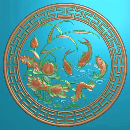 鲤鱼挂件挂匾挂屏精雕图,挂件挂屏挂匾浮雕图,挂屏挂匾雕刻图(GJ-101)