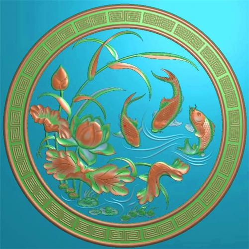 鲤鱼挂件挂匾挂屏精雕图,挂件挂屏挂匾浮雕图,挂屏挂匾雕刻图(GJ-102)