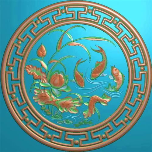 鲤鱼挂件挂匾挂屏精雕图,挂件挂屏挂匾浮雕图,挂屏挂匾雕刻图(GJ-103)