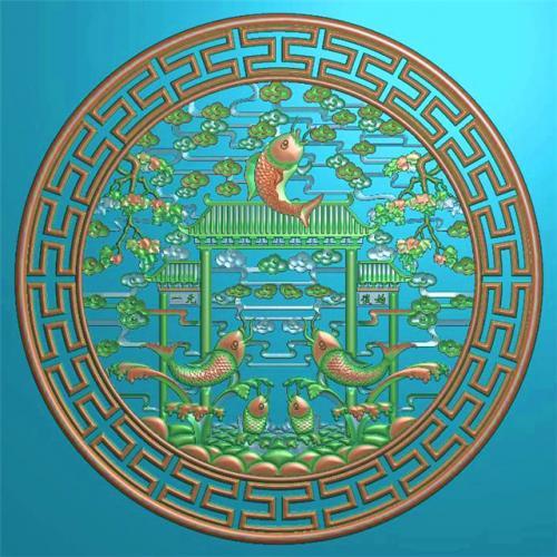 鲤鱼挂件挂匾挂屏精雕图,挂件挂屏挂匾浮雕图,挂屏挂匾雕刻图(GJ-104)