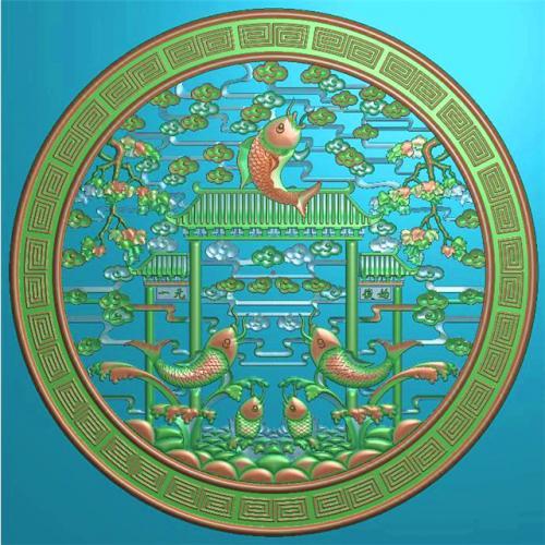 鲤鱼挂件挂匾挂屏精雕图,挂件挂屏挂匾浮雕图,挂屏挂匾雕刻图(GJ-105)