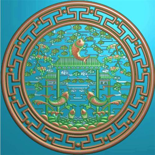 鲤鱼挂件挂匾挂屏精雕图,挂件挂屏挂匾浮雕图,挂屏挂匾雕刻图(GJ-106)