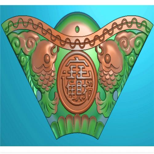 鲤鱼元宝挂件挂匾挂屏精雕图,挂件挂屏挂匾浮雕图,挂屏挂匾雕刻图(GJ-107)