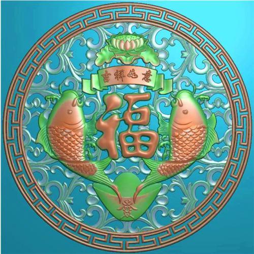 年年有余挂件挂匾挂屏精雕图,挂件挂屏挂匾浮雕图,挂屏挂匾雕刻图(GJ-118)