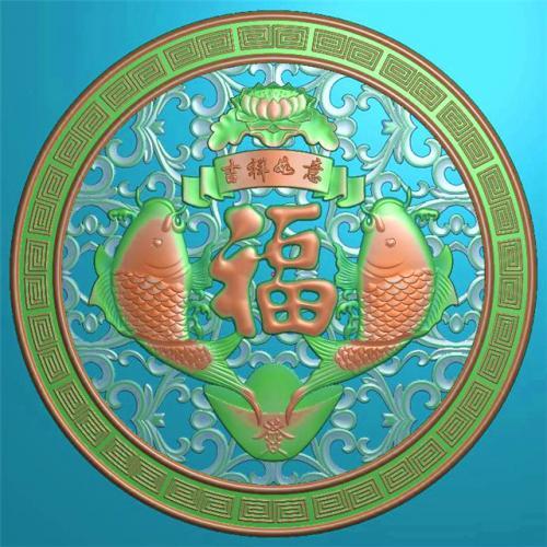 年年有余挂件挂匾挂屏精雕图,挂件挂屏挂匾浮雕图,挂屏挂匾雕刻图(GJ-119)