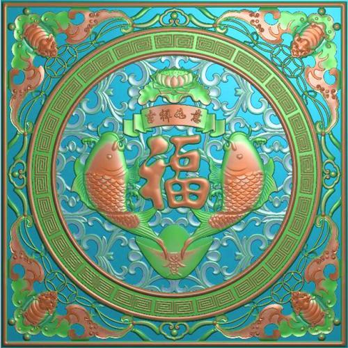 年年有余挂件挂匾挂屏精雕图,挂件挂屏挂匾浮雕图,挂屏挂匾雕刻图(GJ-122)