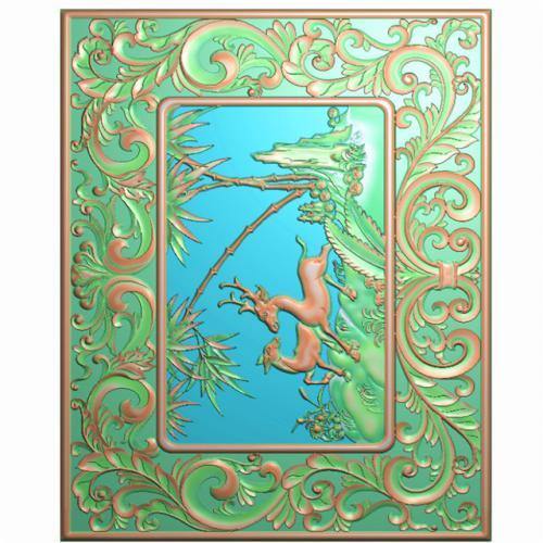 动物山水背板精雕图,背板浮雕图,背板雕刻图(CTBB-351)
