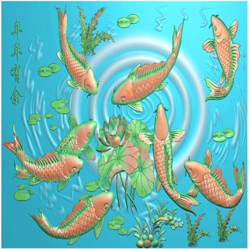 年年有余鱼背板精雕图,背板浮雕图,背板雕刻图(CTBB-367)