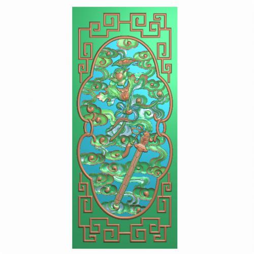 八宝背板精雕图,背板浮雕图,背板雕刻图(CTBB-459)