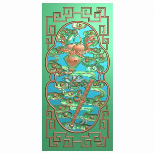 八宝背板精雕图,背板浮雕图,背板雕刻图(CTBB-460)