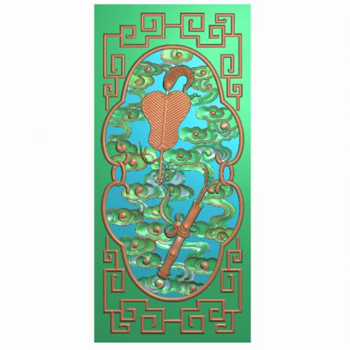 八宝背板精雕图,背板浮雕图,背板雕刻图(CTBB-462)