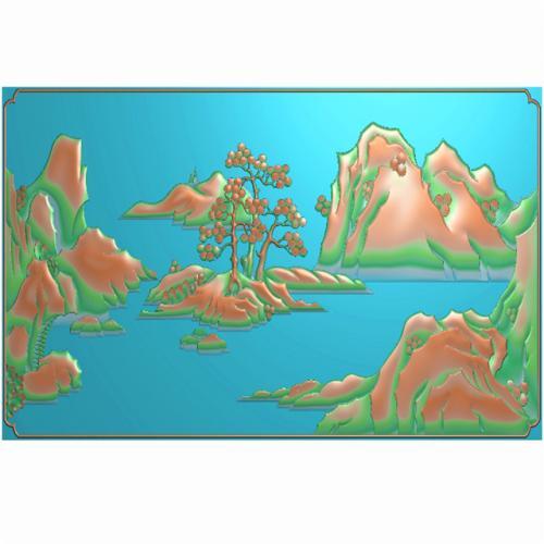山水背板精雕图,背板浮雕图,背板雕刻图(CTBB-1055)