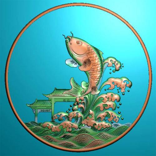 鱼精雕图,鱼浮雕图,鱼雕刻图,鱼加工图(Y-313)