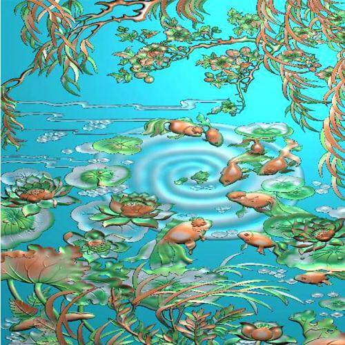 鱼精雕图,鱼浮雕图,鱼雕刻图,鱼加工图(Y-317)