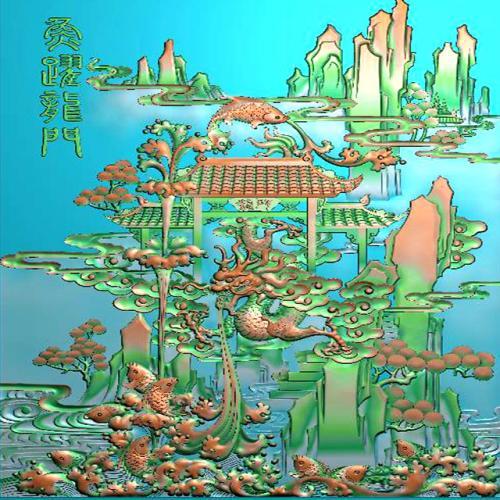 鱼精雕图,鱼浮雕图,鱼雕刻图,鱼加工图(Y-318)