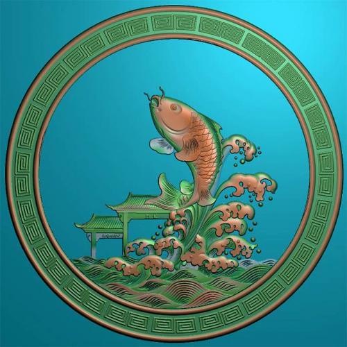 鱼精雕图,鱼浮雕图,鱼雕刻图,鱼加工图(Y-321)
