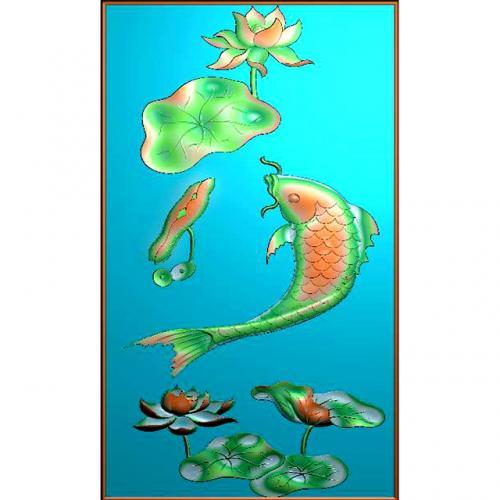 鱼精雕图,鱼浮雕图,鱼雕刻图,鱼加工图(Y-322)