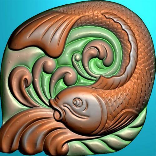 鱼精雕图,鱼浮雕图,鱼雕刻图,鱼加工图(Y-323)