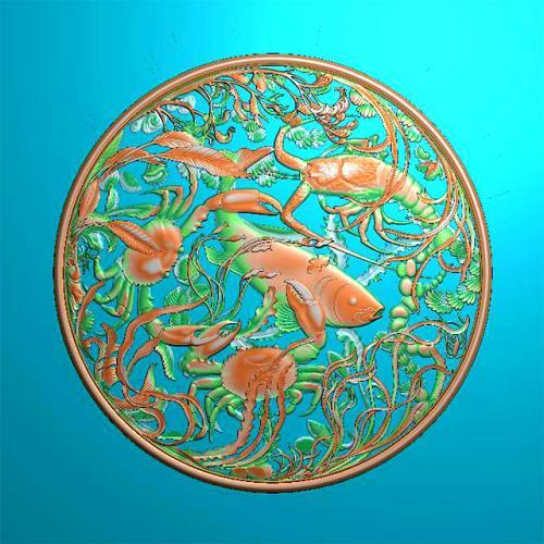 鱼精雕图,鱼浮雕图,鱼雕刻图,鱼加工图(Y-324)