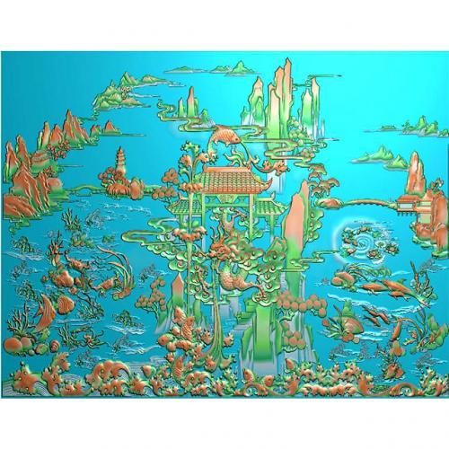 鱼精雕图,鱼浮雕图,鱼雕刻图,鱼加工图(Y-325)